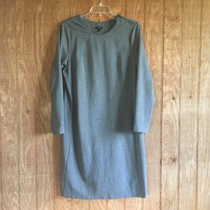 Talbots Solid Gray Long-Sleeve Dress 12